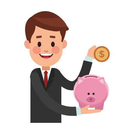 business saving money cartoon vector illustration graphic design Vector Illustration
