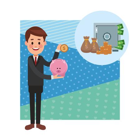 business saving money cartoon vector illustration graphic design