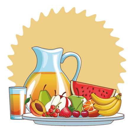 delicious and fresh fruit juice cartoon vector illustration graphic design Foto de archivo - 126409789