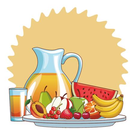 delicious and fresh fruit juice cartoon vector illustration graphic design Illustration