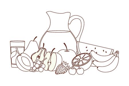 delicious and fresh fruit juice cartoon vector illustration graphic design Ilustração Vetorial