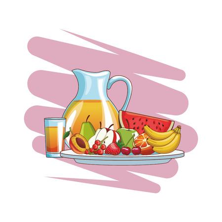 delicious and fresh fruit juice cartoon vector illustration graphic design Иллюстрация