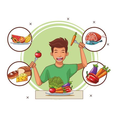 Alimentation équilibrée jeune homme cartoon vector illustration graphic design