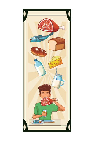 balanced diet young man cartoon vector illustration graphic design Çizim