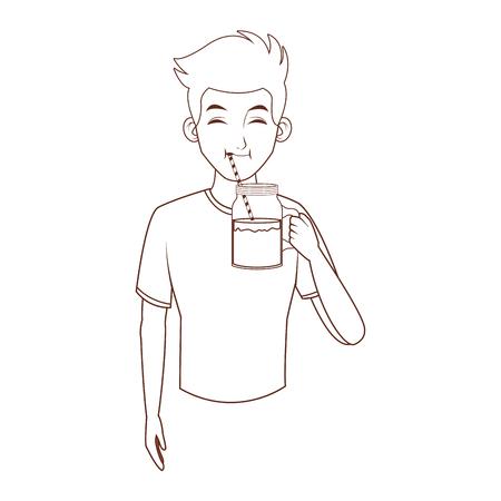 young man upperbody cartoon vector illustration graphic design