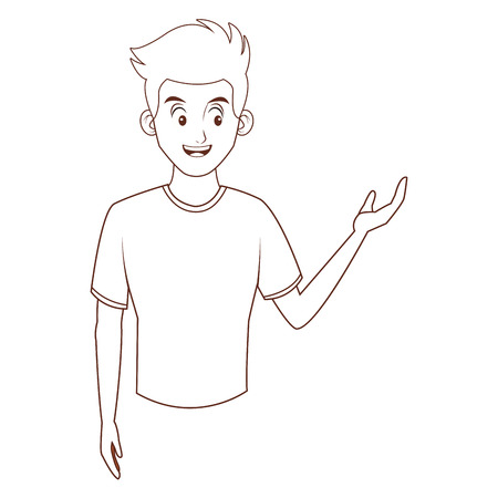 young man upperbody cartoon vector illustration graphic design Ilustração