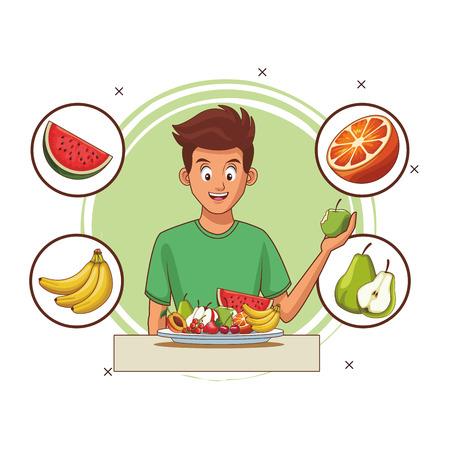 balanced diet young man cartoon vector illustration graphic design