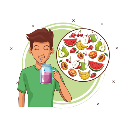 balanced diet young man cartoon vector illustration graphic design  イラスト・ベクター素材