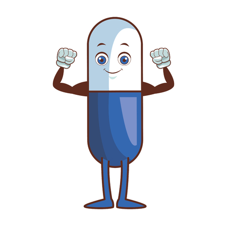 pill character cartoon vector illustration graphic design