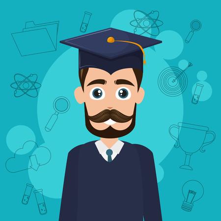 university student cartoon vector illustration graphic design