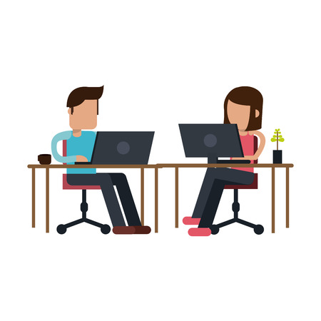 coworkers working with laptop on office vector illustration graphic design  イラスト・ベクター素材