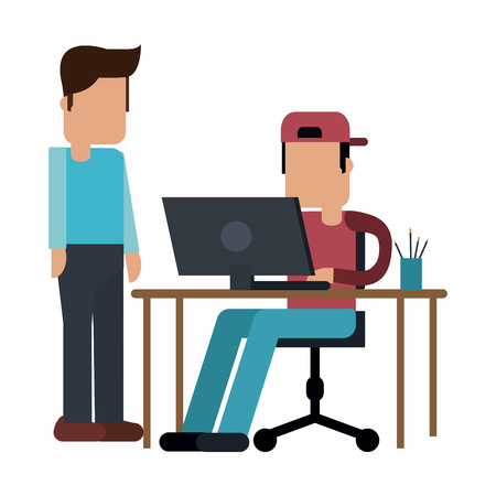 coworker working with laptop on desk vector illustration graphic design