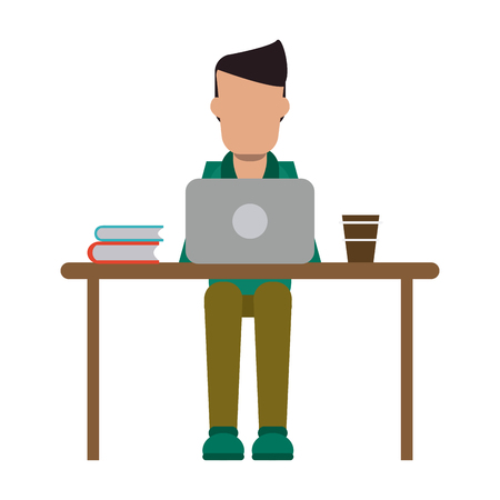 freelancer working with laptop and coffee on desk vector illustration graphic design