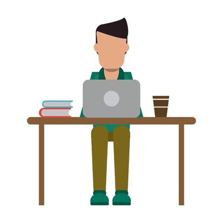 Freiberufler, der mit Laptop und Kaffee auf Schreibtischvektorillustrationsgrafikdesign arbeitet