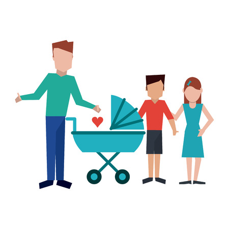 Family single fathers with kids and pram vector illustration graphic design