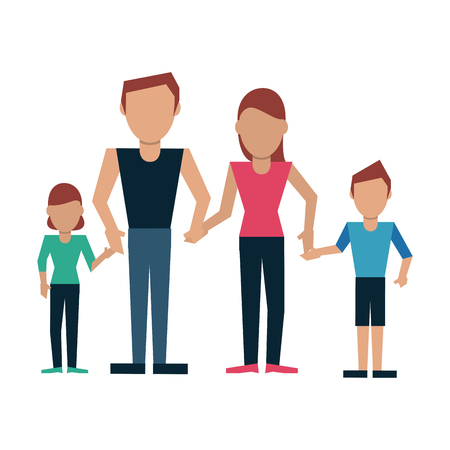 Family father and mother with daughter and son vector illustration graphic design  イラスト・ベクター素材
