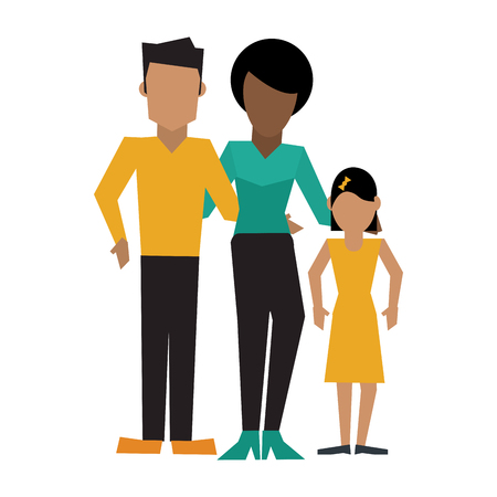 Family mother and father with daugther vector illustration graphic design