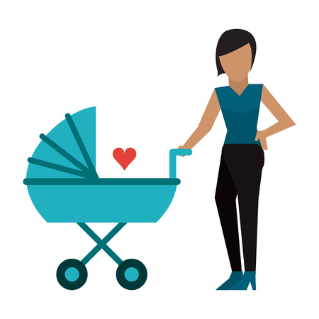 Family single mother with baby in pram vector illustration graphic design