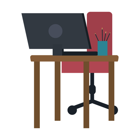 Computer on desk with chair and pencils cup vector illustration graphic design