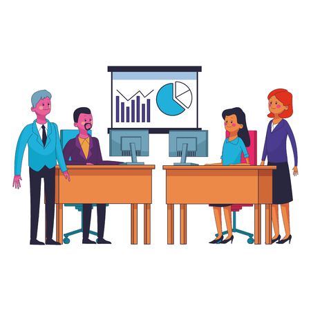 business coworkers executives cartoon vector illustration graphic design