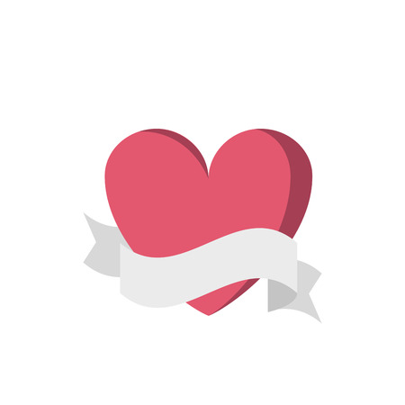 Heart with ribbon banner cartoon Illustration