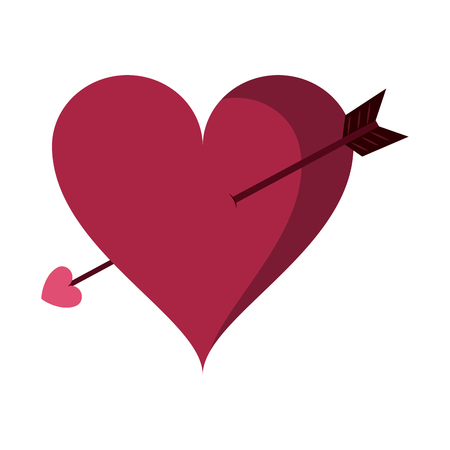 Heart with bow arrow cartoon vector illustration graphic design