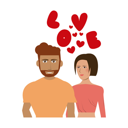 Couple in love with hearts cartoon vector illustration graphic design