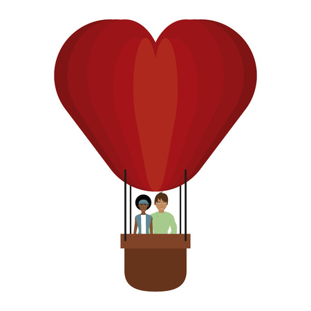 Couple in hot air balloon vector illustration graphic design