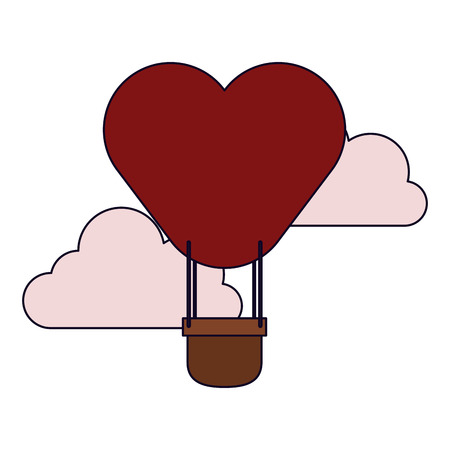 Hot air balloon heart shaped in clouds vector illustration graphic design vector illustration graphic design