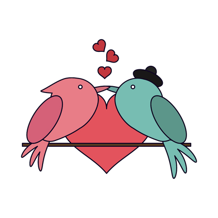 Love and birds kiss with hearts vector illustration graphic design vector illustration graphic design