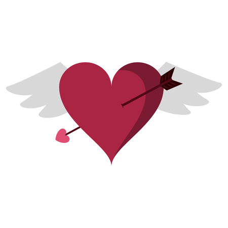 Heart with wings and arrow cartoon vector illustration graphic design