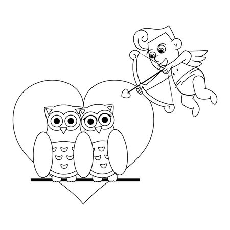 Love and owl birds with heart and cupid black and white vector illustration graphic design