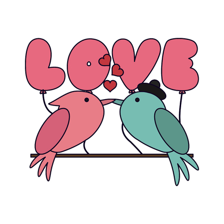 Love and birds on stick vector illustration graphic design vector illustration graphic design
