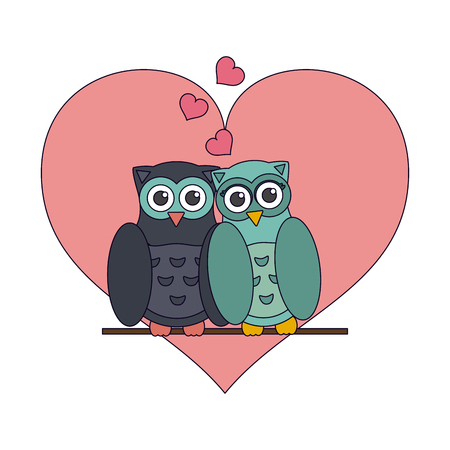 Love and owl birds with hearts vector illustration graphic design vector illustration graphic design