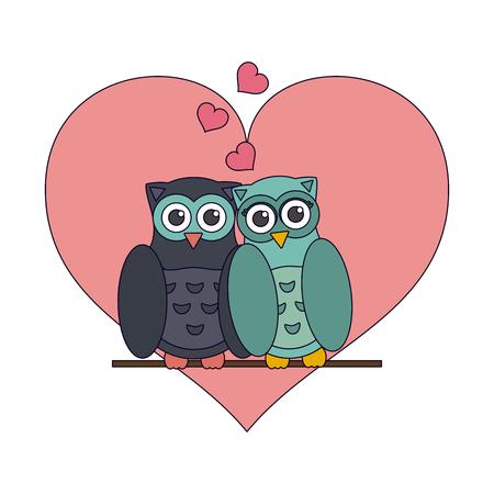 Love and owl birds with hearts vector illustration graphic design vector illustration graphic design Standard-Bild - 126158630