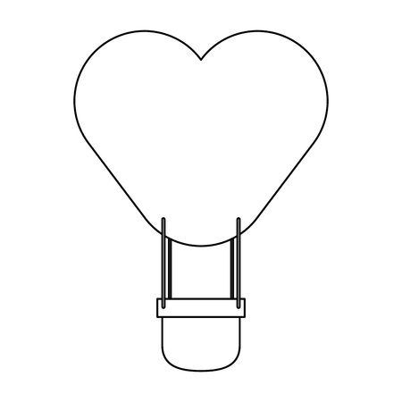 Hot air balloon heart shaped black and white vector illustration graphic design