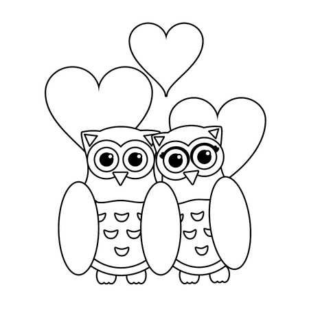 Love and owl birds with hearts black and white vector illustration graphic design Ilustração