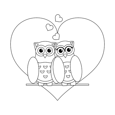 Love and owl birds with hearts black and white vector illustration graphic design Vetores