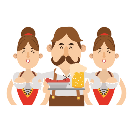 Bavarian people celebrating with beers oktoberfest cartoon vector illustration graphic design Vektoros illusztráció