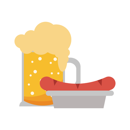 beer cup and sausage on dish vector illustration graphic design