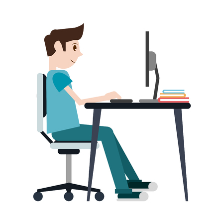 student man studying with computer on desk cartoon vector illustration graphic design