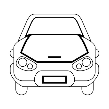 Car front view vehicle cartoon black and white vector illustration graphic design
