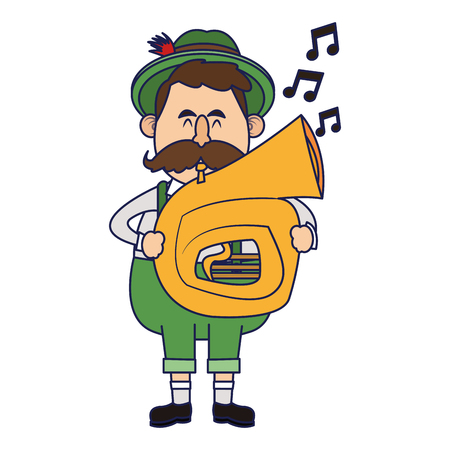 Bavarian man playing trumpet oktoberfest cartoons vector illustration graphic design Illustration