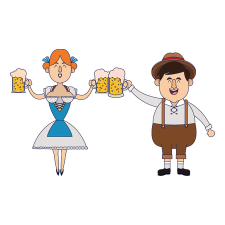 Bavarian people celebrating with beers oktoberfest cartoon vector illustration graphic design