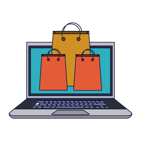 online shopping with laptop vector illustration graphic design