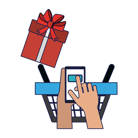 buy online from smartphone giftbox and basket vector illustration graphic design