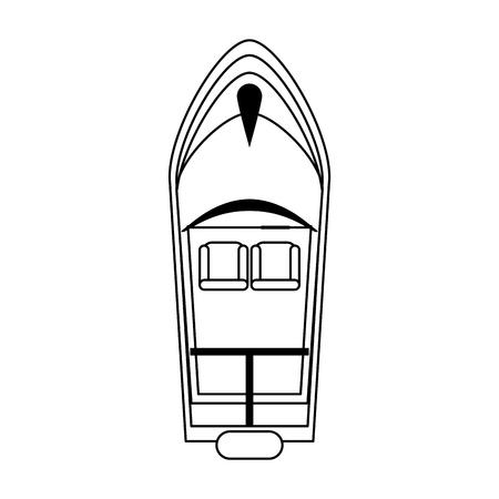 Vista superiore della barca del mare isolata design grafico dell'illustrazione di vettore in bianco e nero Vettoriali