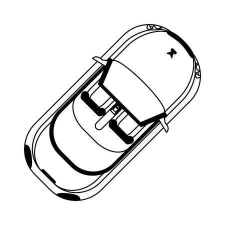 sport convertible car topview black and white vector illustration graphic design