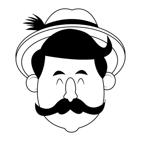 Bavarian man with msutache and hat oktoberfest cartoons black and white vector illustration graphic design