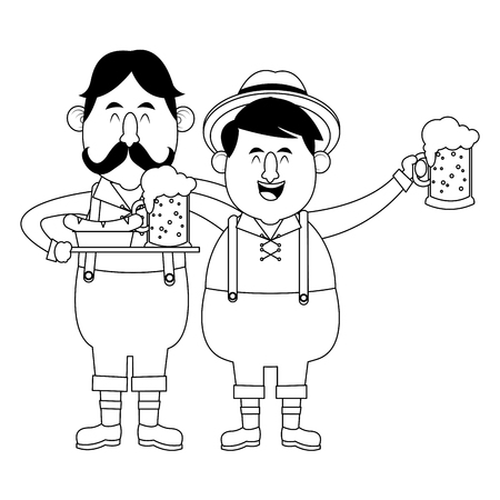 Bavarian men drinking beers oktoberfest cartoons black and white vector illustration graphic design Illustration